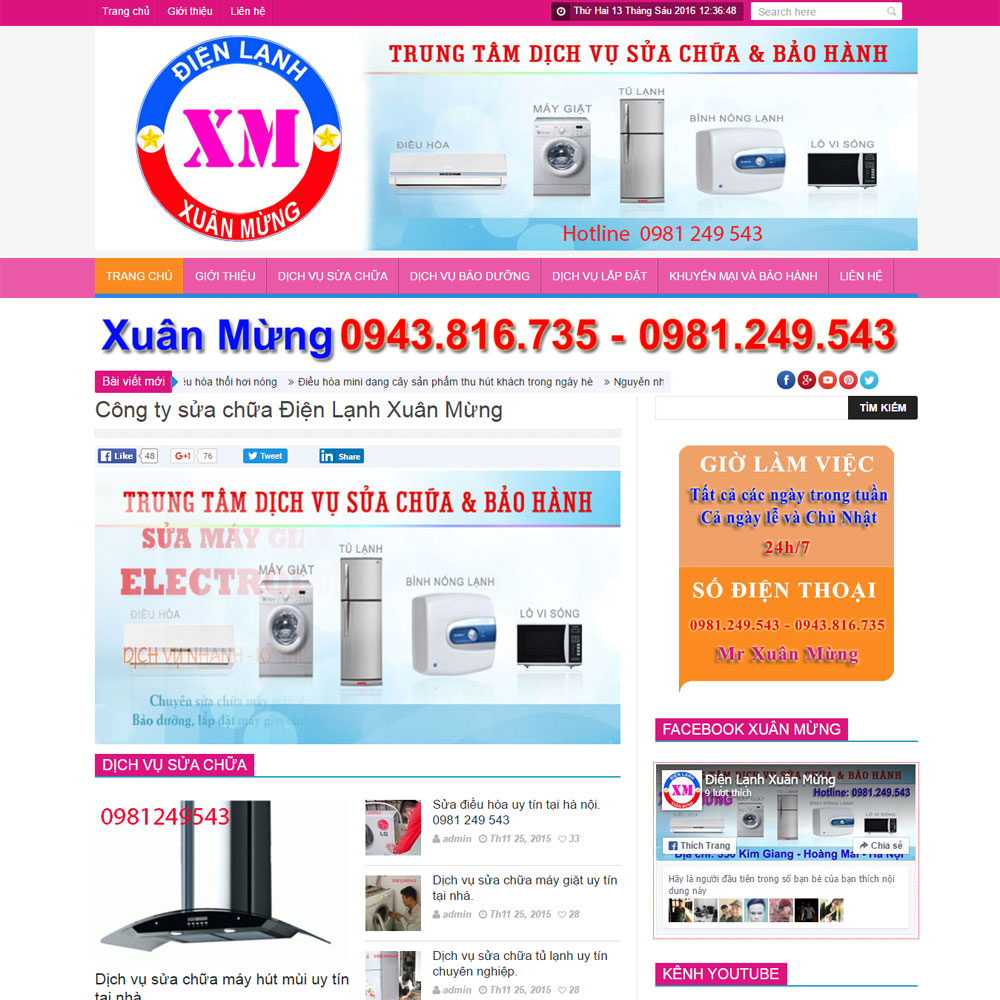 Thiết Kế Website Giới Thiệu Dịch Vụ điện Lạnh WBT02