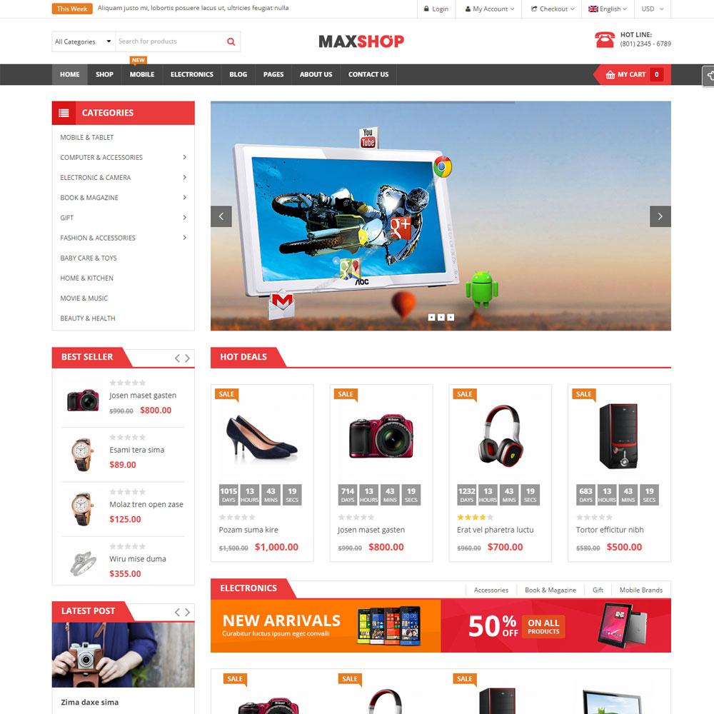 Thiết Kế Website Theo Theme Wordpress MaxShop WBT10