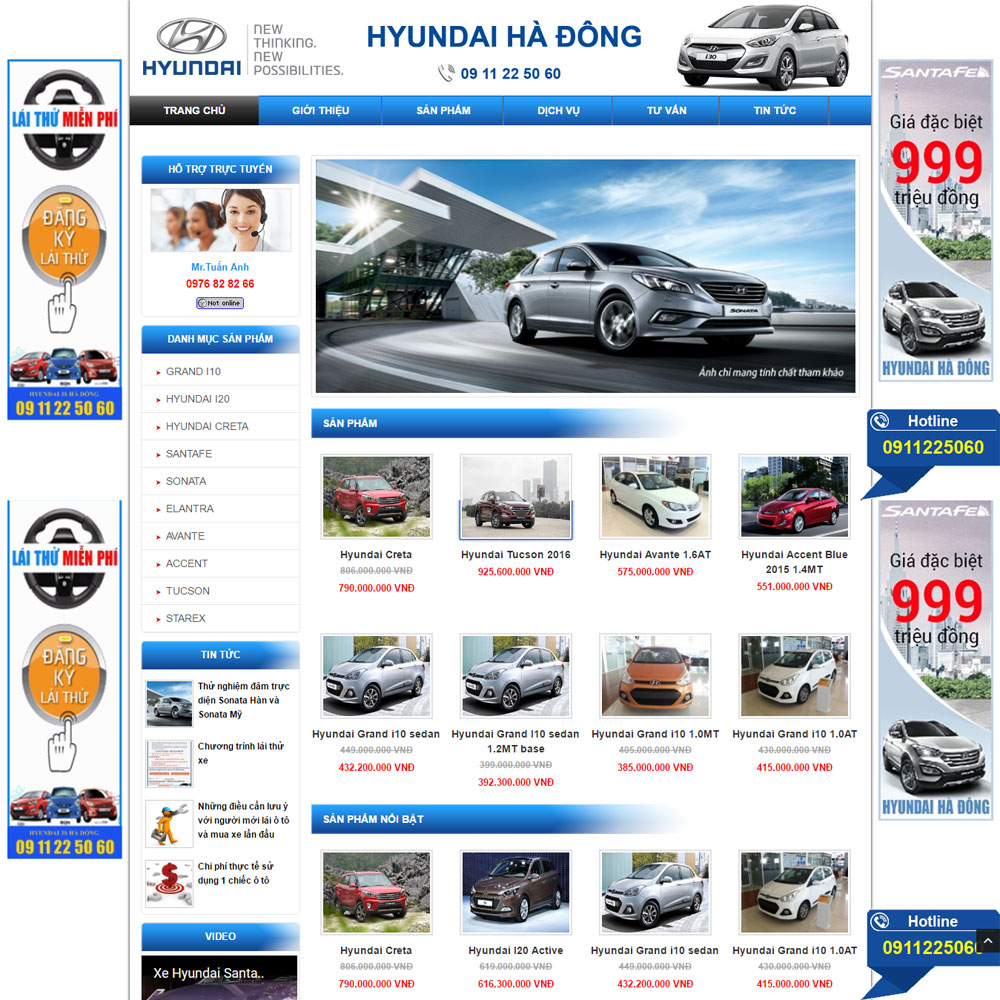 Website Giới Thiệu Và Bán ô Tô Hyundai WBT61