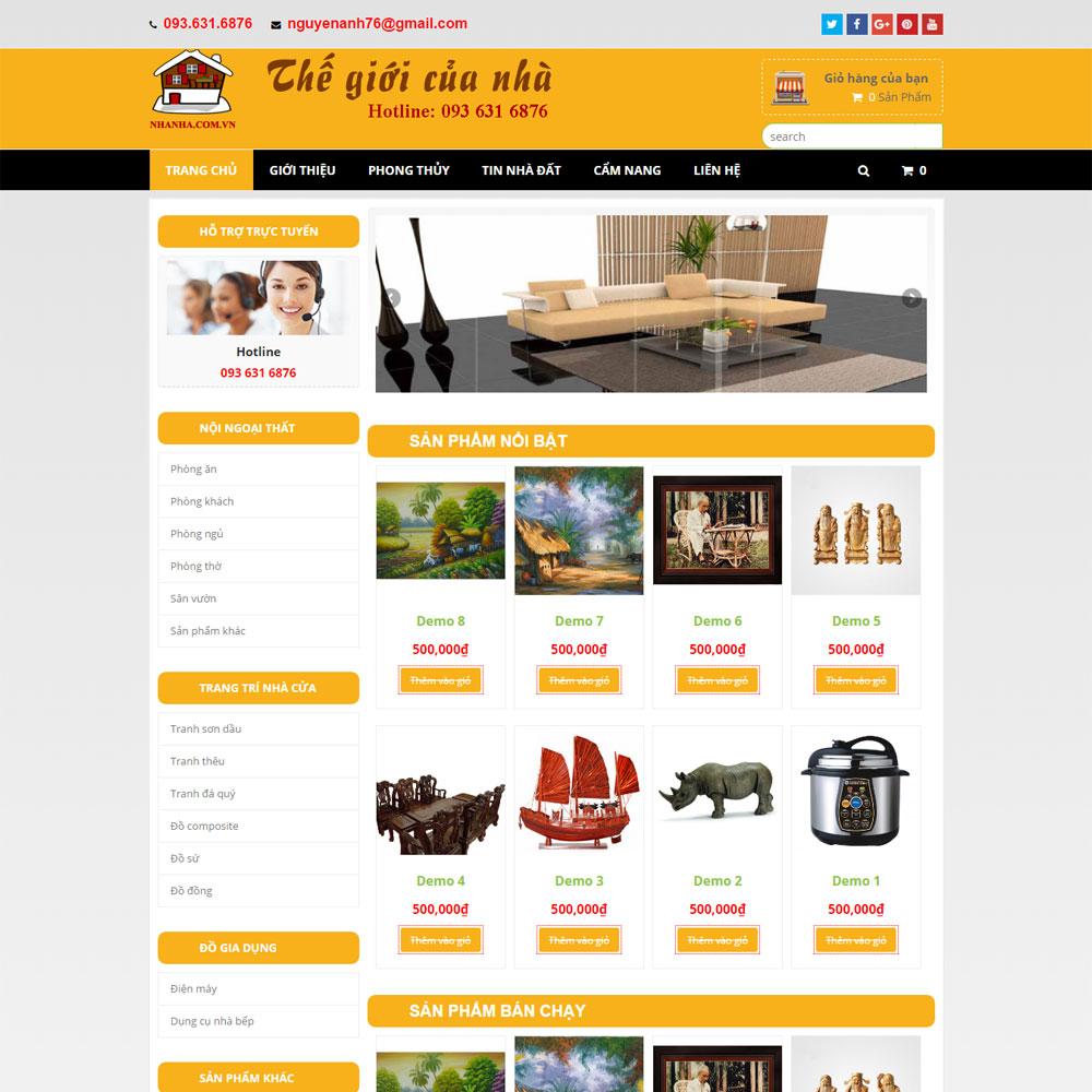 Website Bán đồ Dùng Nội Thất Gia đình WBT76