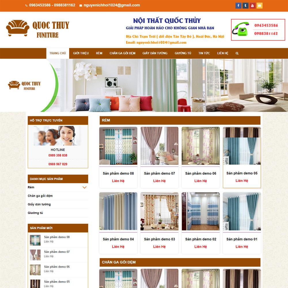 Website Bán đồ Nội Thất Quốc Thủy Chuyên Rèm Chăn Ga Gối WBT113