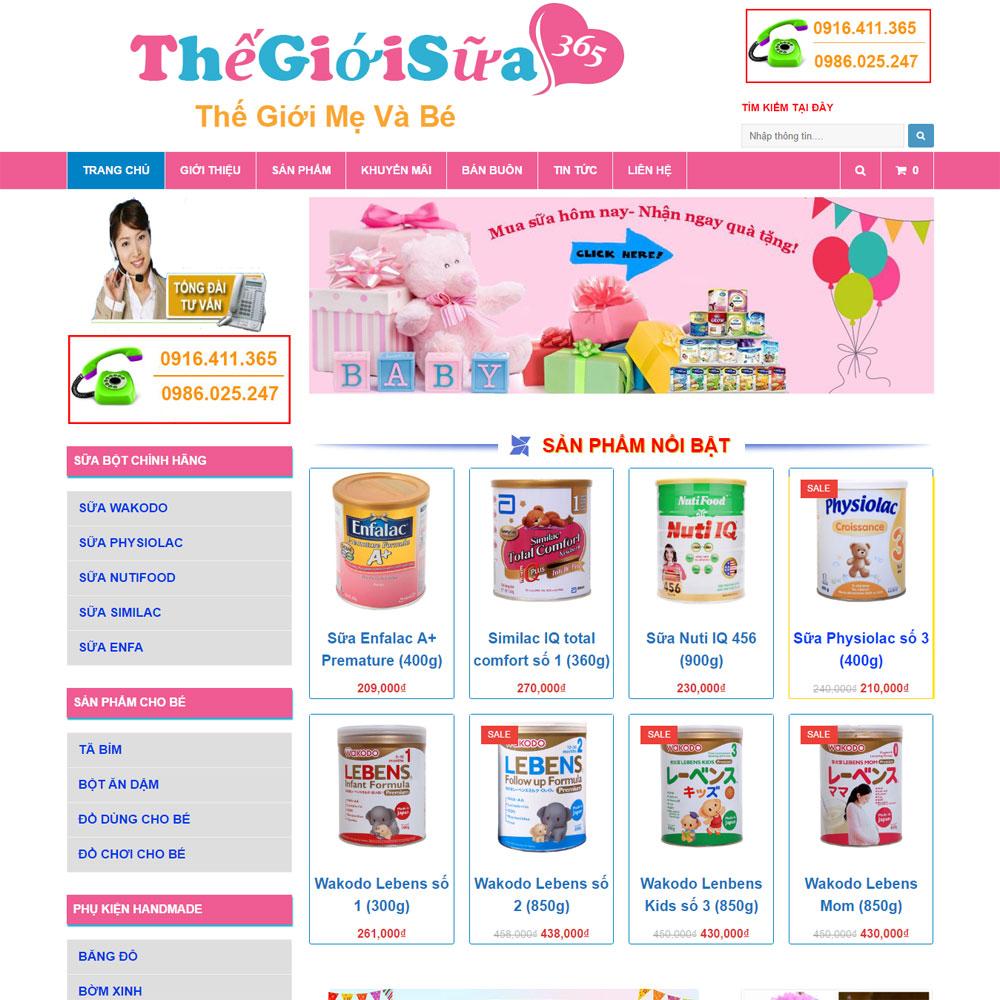 Website Bán Bỉm Sữa Thế Giới Mẹ Và Bé 365 WBT119