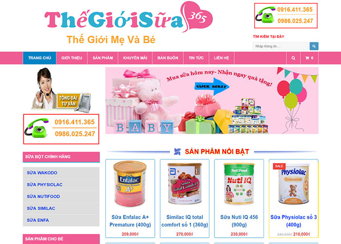 thiết kế website bán bỉm sữa