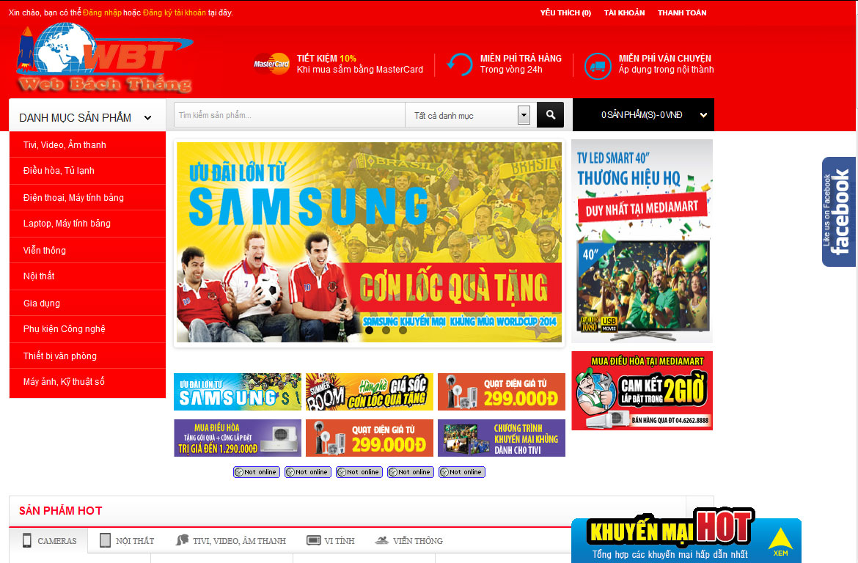 mẫu thiết kế website siêu thị