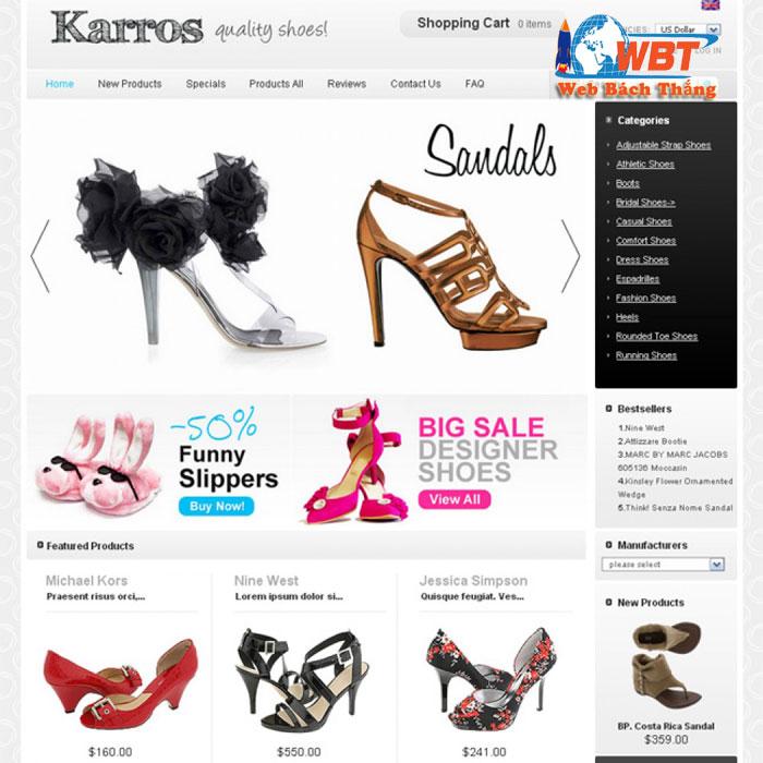thiết kế website bán giày dép online