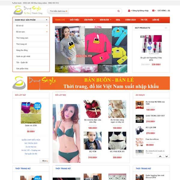 Mẫu Website Bán Quần áo Bán Buôn Bán Lẻ WBT130
