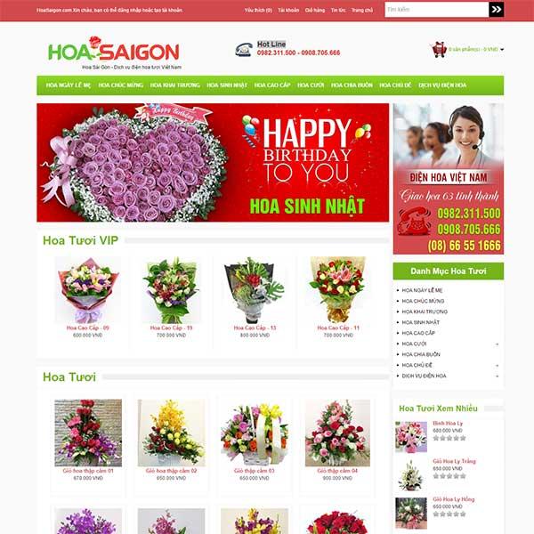 Mẫu Website Bán Hoa Tươi WBT1007
