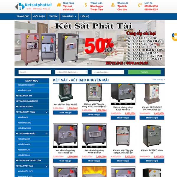 Mẫu website bán két sắt - két bạc WBT1014