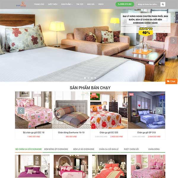 Mẫu Website Chăn Ga Gối đệm Everhome WBT1009