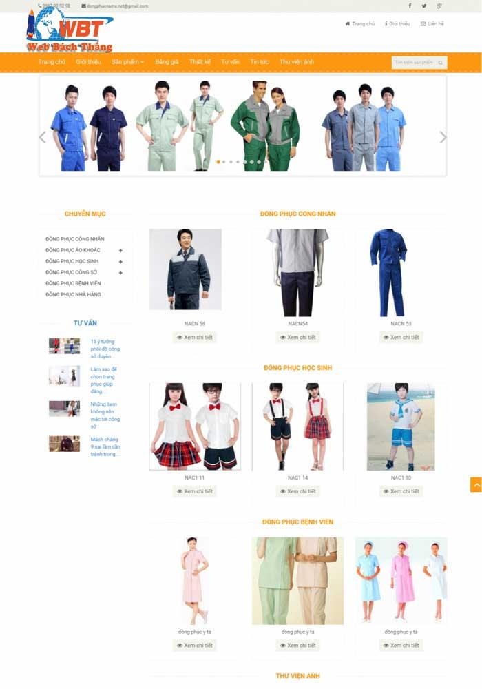 thiết kế website đồng phục công ty