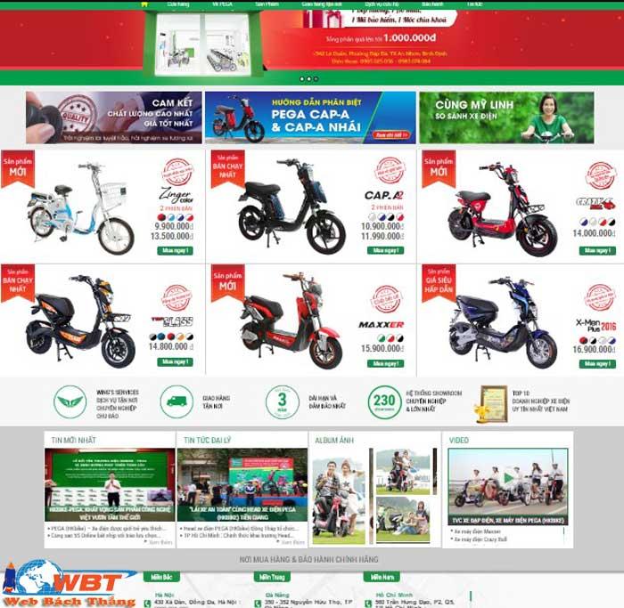 Mẫu giao diện website xe đạp điện