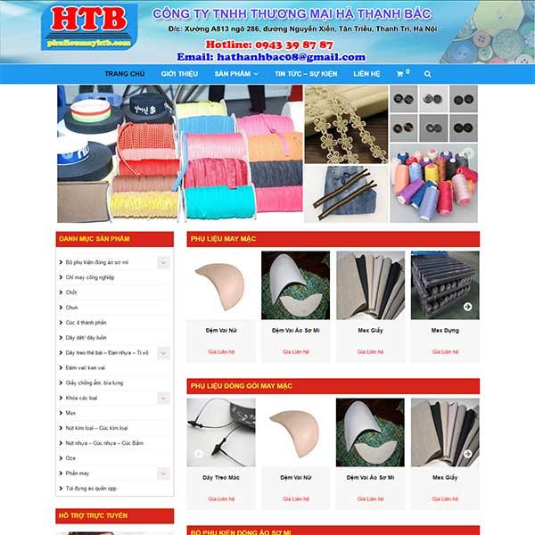 Mẫu Website Phụ Liệu May Hà Thanh Bắc WBT1069
