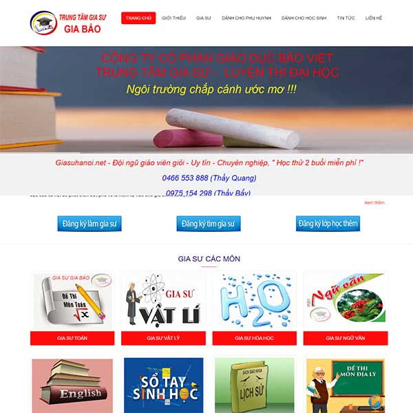 Mẫu Website Trung Tâm Gia Sư Gia Bảo WBT1075