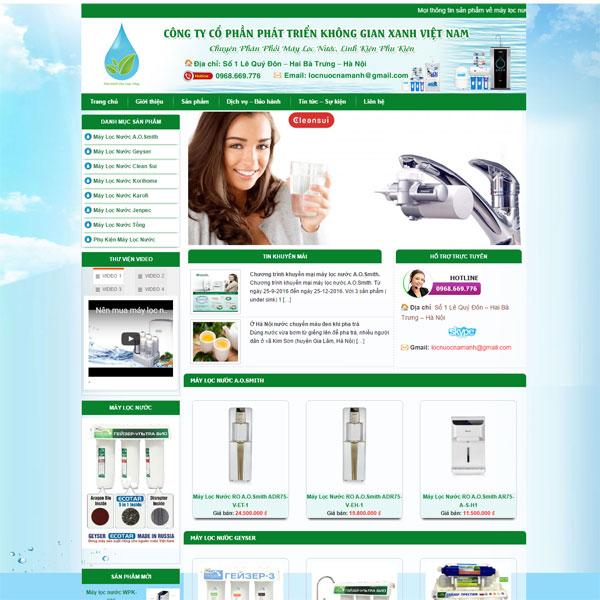 Mẫu Website Bán Và Giới Thiệu Sản Phẩm Máy Lọc Nước