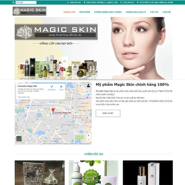 Mẫu Website Bán Mỹ Phẩm Magic Skin Chính Hãng WBT150