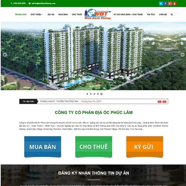 Mẫu Website Bất động Sản Phúc Lâm Land WBT1067