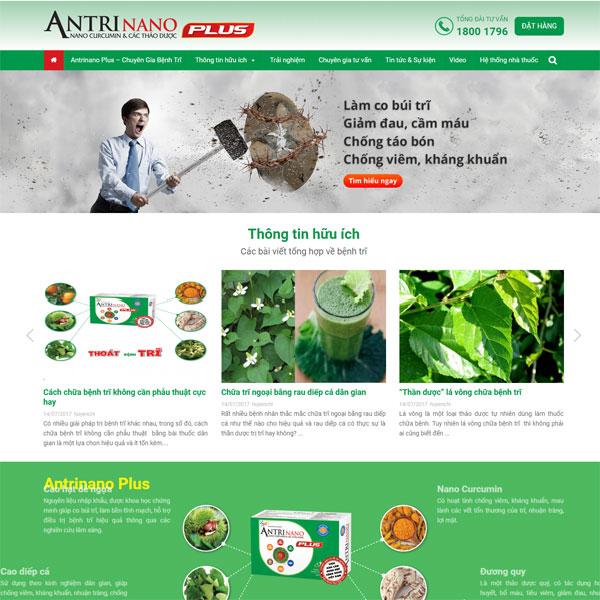 Mẫu Website Giới Thiệu Sản Phẩm Thuốc Trĩ WBT160