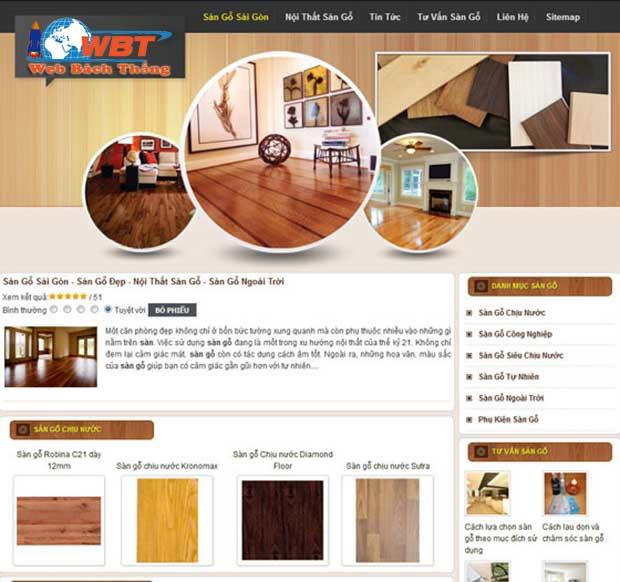 mẫu website sàn gỗ