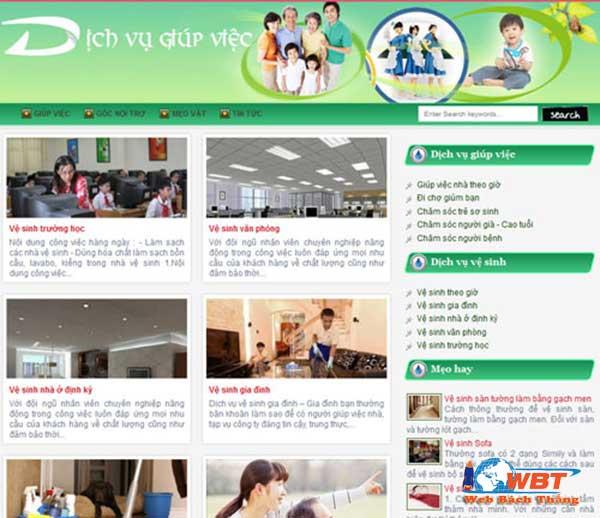 thiết kế web dịch vụ giúp việc nhà