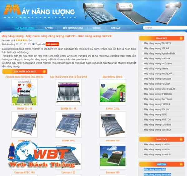 Thiết kế website máy năng lượng mặt trời