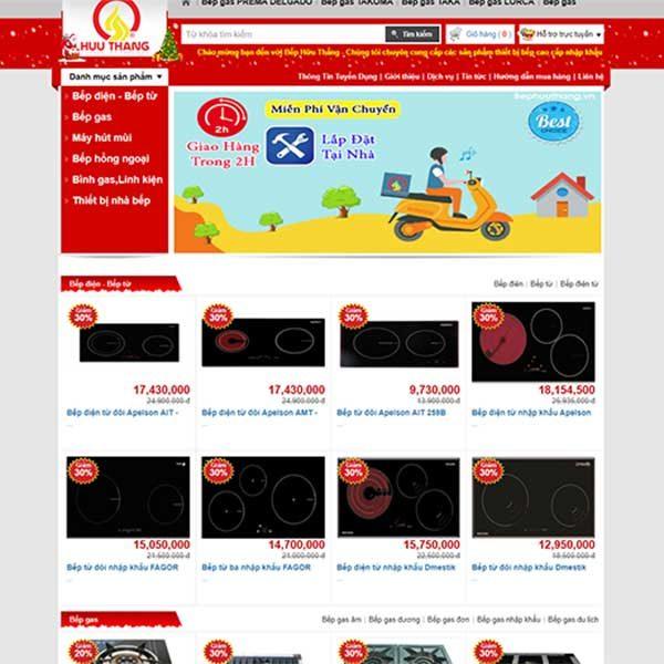 Mẫu Website Bán Bếp Gas Và Thiết Bị Nhà Bếp Hữu Thắng WBT1122