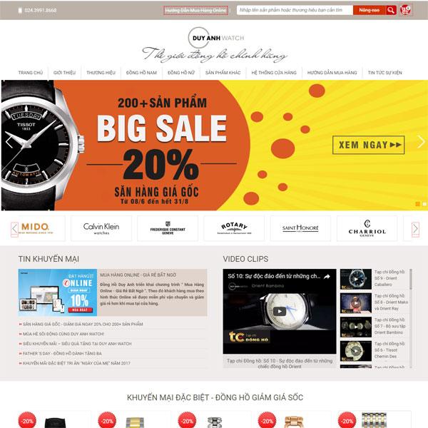mẫu Website bán đồng hồ chính hãng nam nữ cao cấp duy anh watch WBT164