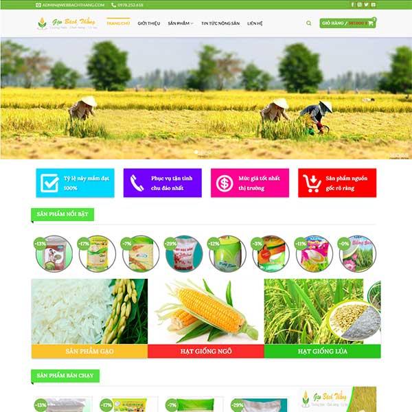 Mẫu Website Bán Gạo Và Hạt Giống Bách Thắng WBT 1125