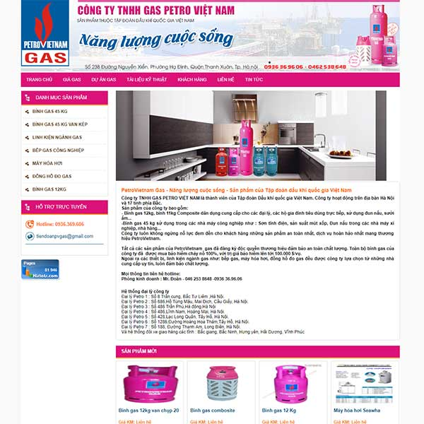 Mẫu Website Bán Gas Và Bếp Petro Việt Nam WBT1121