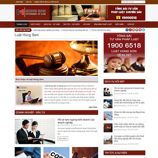 Mẫu Website Công Ty Luật Hùng Sơn