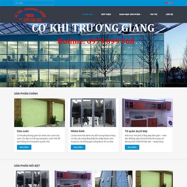 Mẫu Website Khung Nhôm Cơ Khí Trường Giang WBT1113