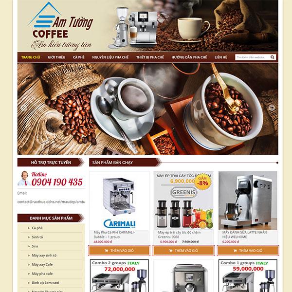 Mẫu Website Nguyên Liệu Pha Chế Cà Phê WBT1096