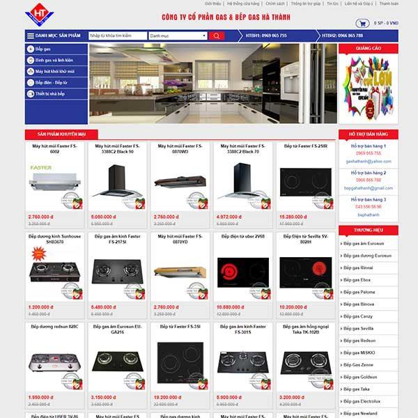 Mẫu Website Siêu Thị Bếp Gas Và đồ Dùng Nhà Bếp WBT1123