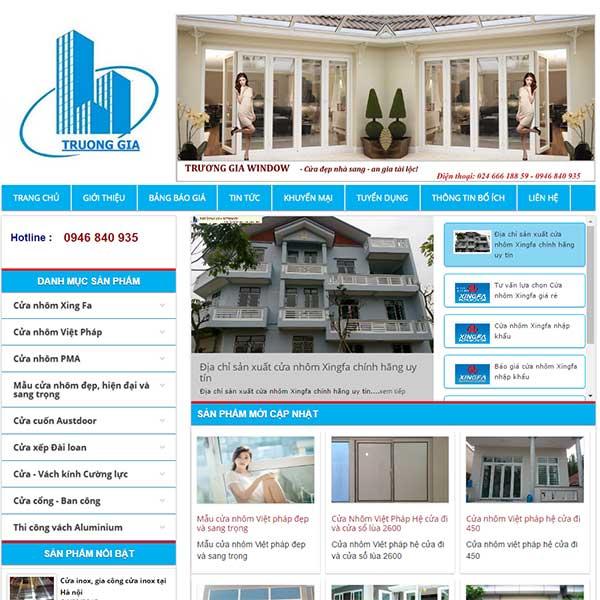 Mẫu Website Bán Cửa Nhôm Trường Gia WBT1111