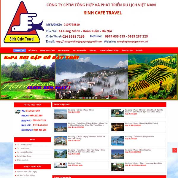 Mẫu Website Tour Du Lịch Sinh Cafe Travel WBT1117