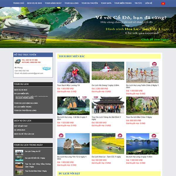 Mẫu Website Tour Du Lịch Văn Minh WBT1116