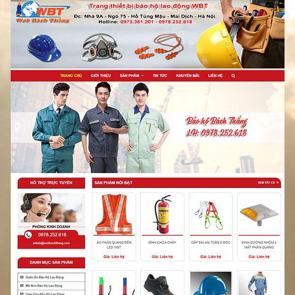 Mẫu Website Bán đồ Bảo Hộ Lao động Bách Thắng WBT1119