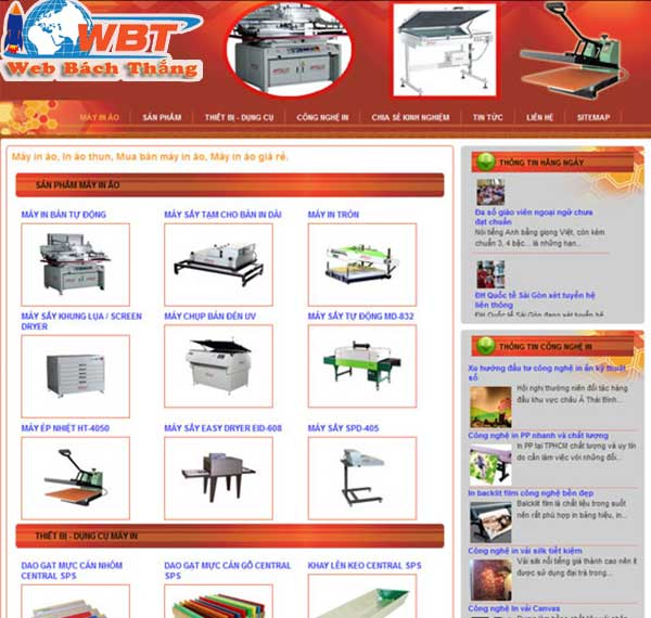 thiết kế website bán máy in