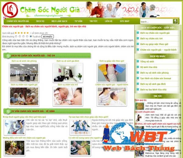 thiết kế website dịch vụ chăm sóc người già