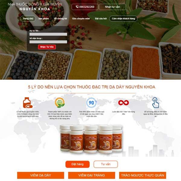 Mẫu Website Nhà Thuốc đông Y Gia Truyền Chữa Bệnh Viêm Loét Dạ Dày WBT172