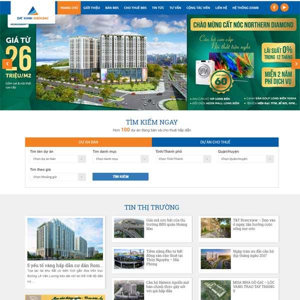Mẫu Website Sàn Giao Dịch Bất động Sản Bán Và Cho Thuê WBT174