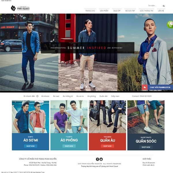 Mẫu Website Thời Trang Nam Store Quần áo Phụ Kiện WBT175