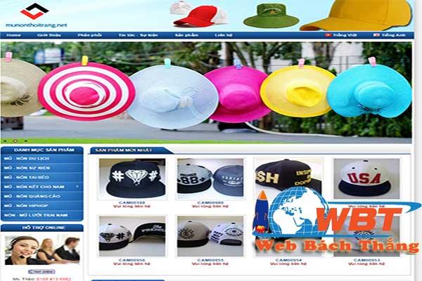thiết kế website bán mũ thời trang