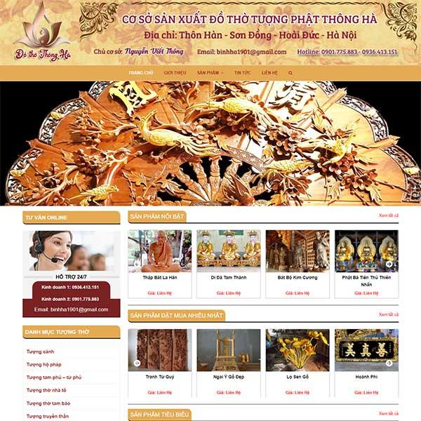Mẫu website đồ thờ tượng phật Thông Hà