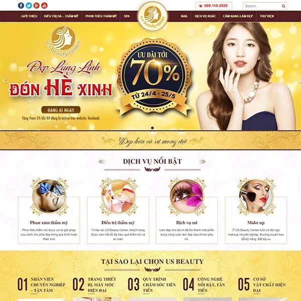 Mẫu website thẩm mỹ - spa nail - công nghệ cao WBT1132