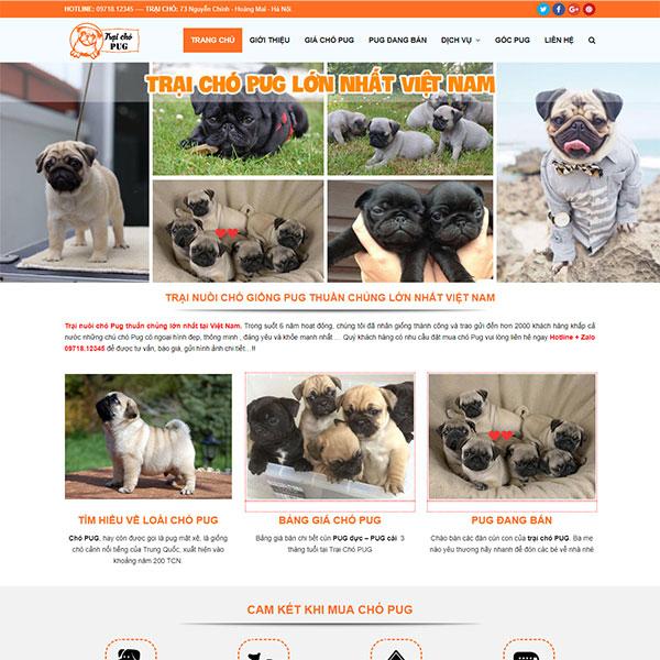Mẫu Website Bán Chó Cảnh - Trại Chó Pug WBT1138