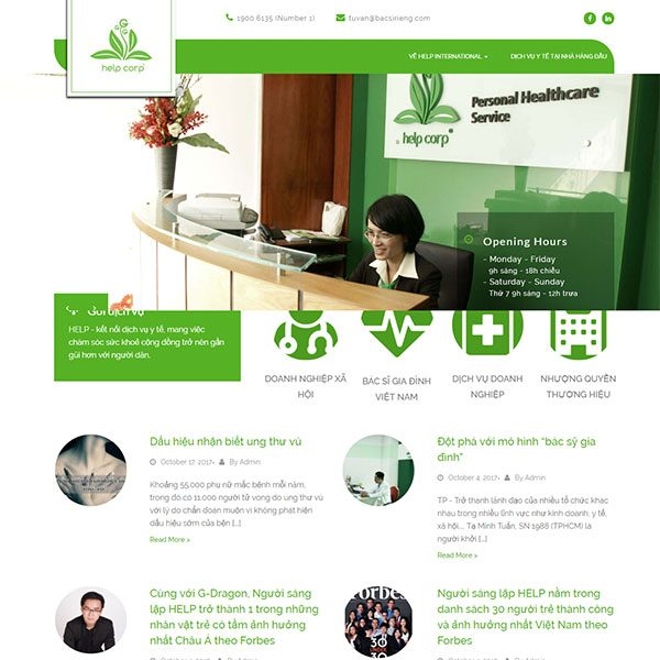 Mẫu Website Tư Vấn Sức Khỏe Online - Help Corp WBT1142