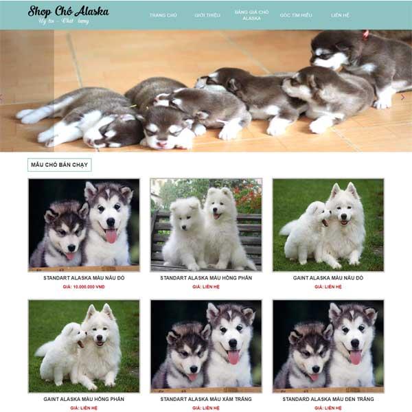 Mẫu Website Bán Thú Cưng Chó Alaska Shop đẹp WBT183