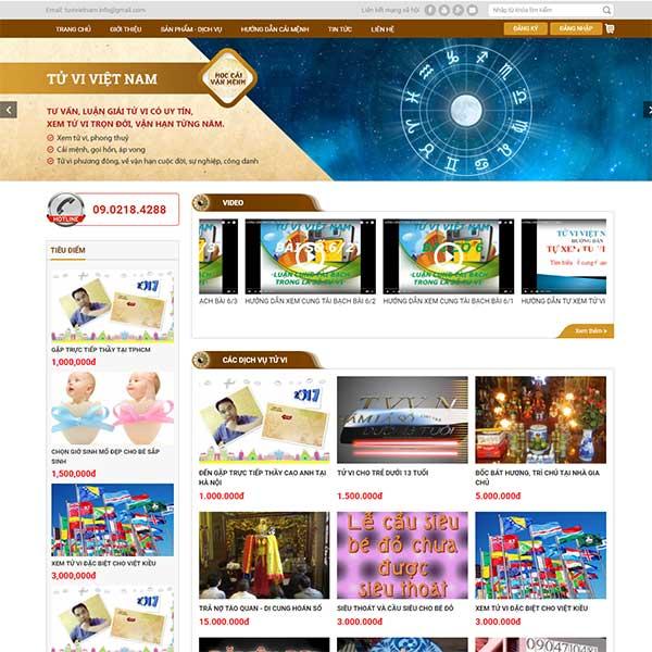 Mẫu Website Xem Tử Vi WBT1136