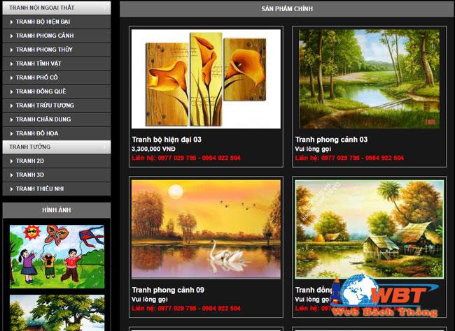 Thiết kế website bán khung tranh giá rẻ