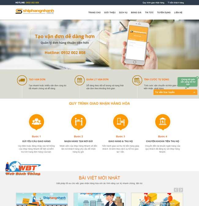 thiết kế website dịch vụ vận chuyển hàng hóa
